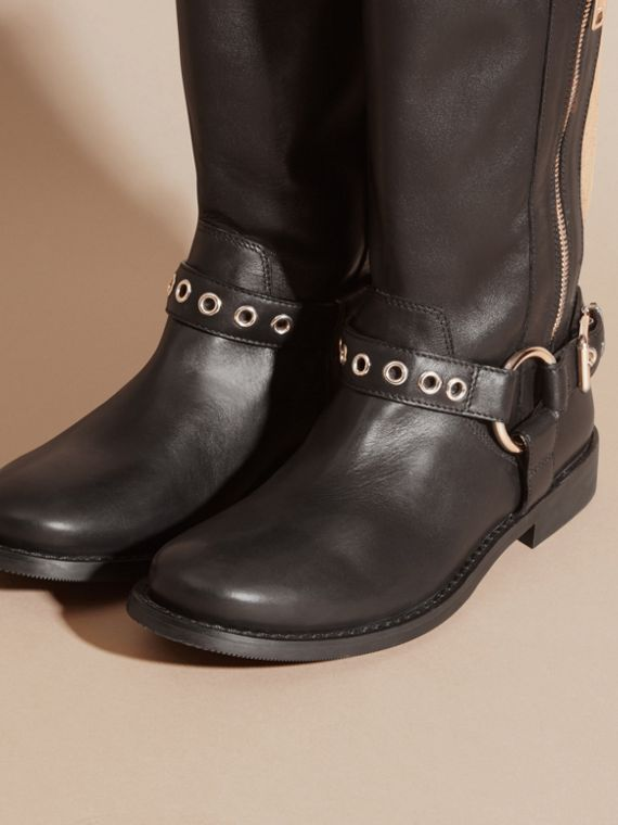 Black Buckle Detail Leather and Canvas Check Boots - cell image 2