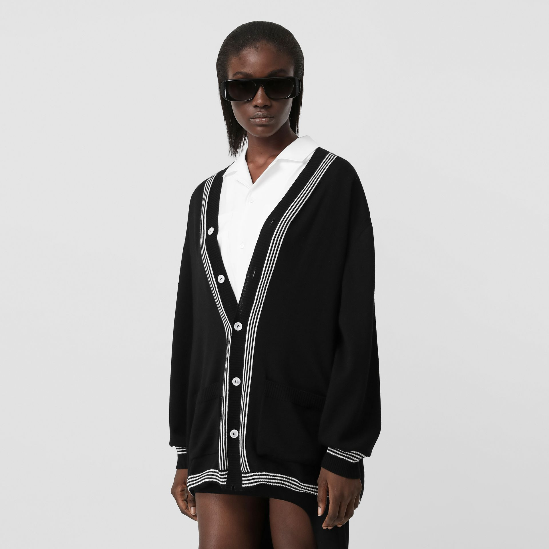 Wool Cardigan Detail Cotton Shirt in Black - Women | Burberry - gallery image 9