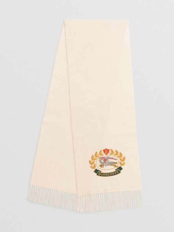 The Classic Cashmere Scarf with Archive Logo in White