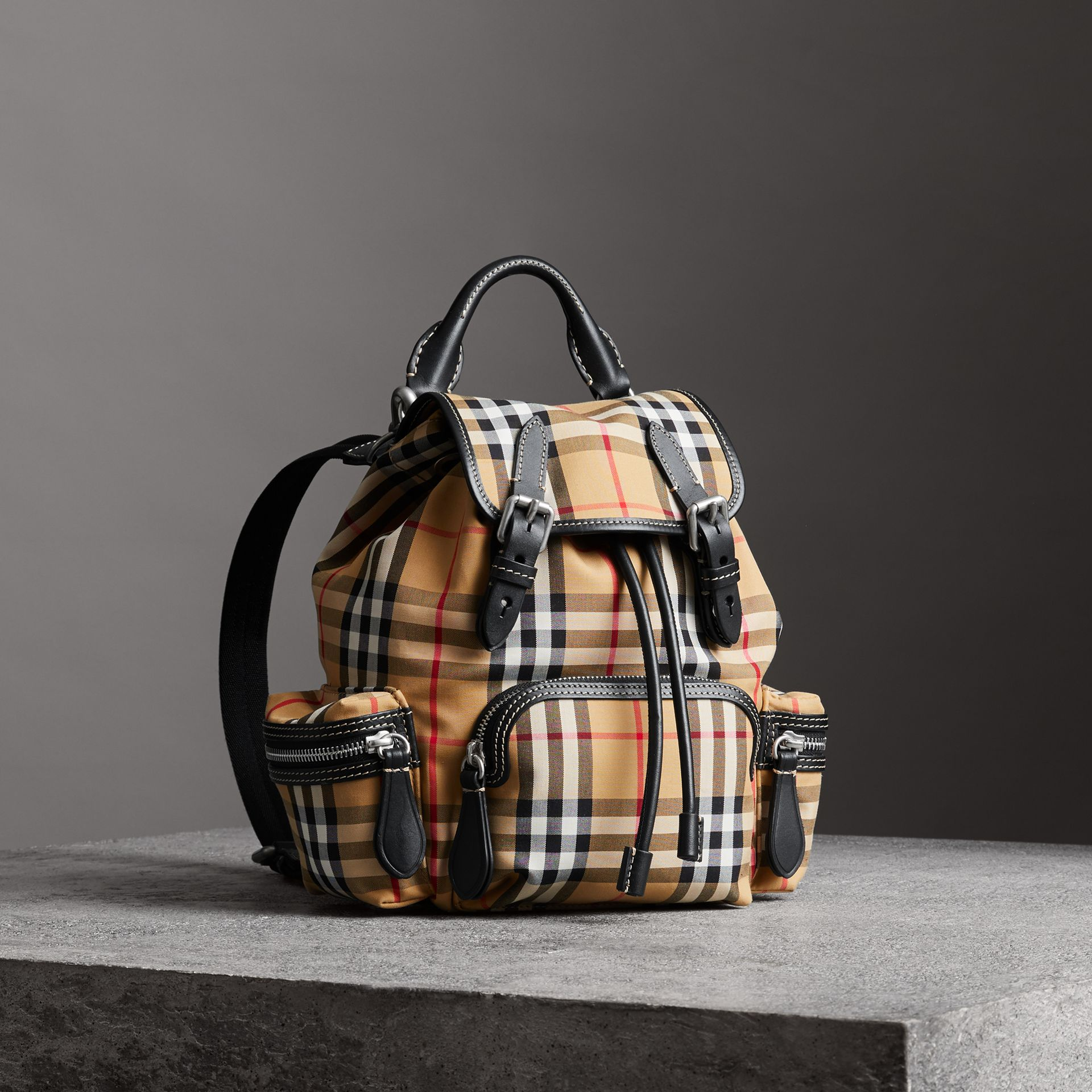 The Small Rucksack in Vintage Check and Leather in Antique Yellow - Women | Burberry - gallery image 0