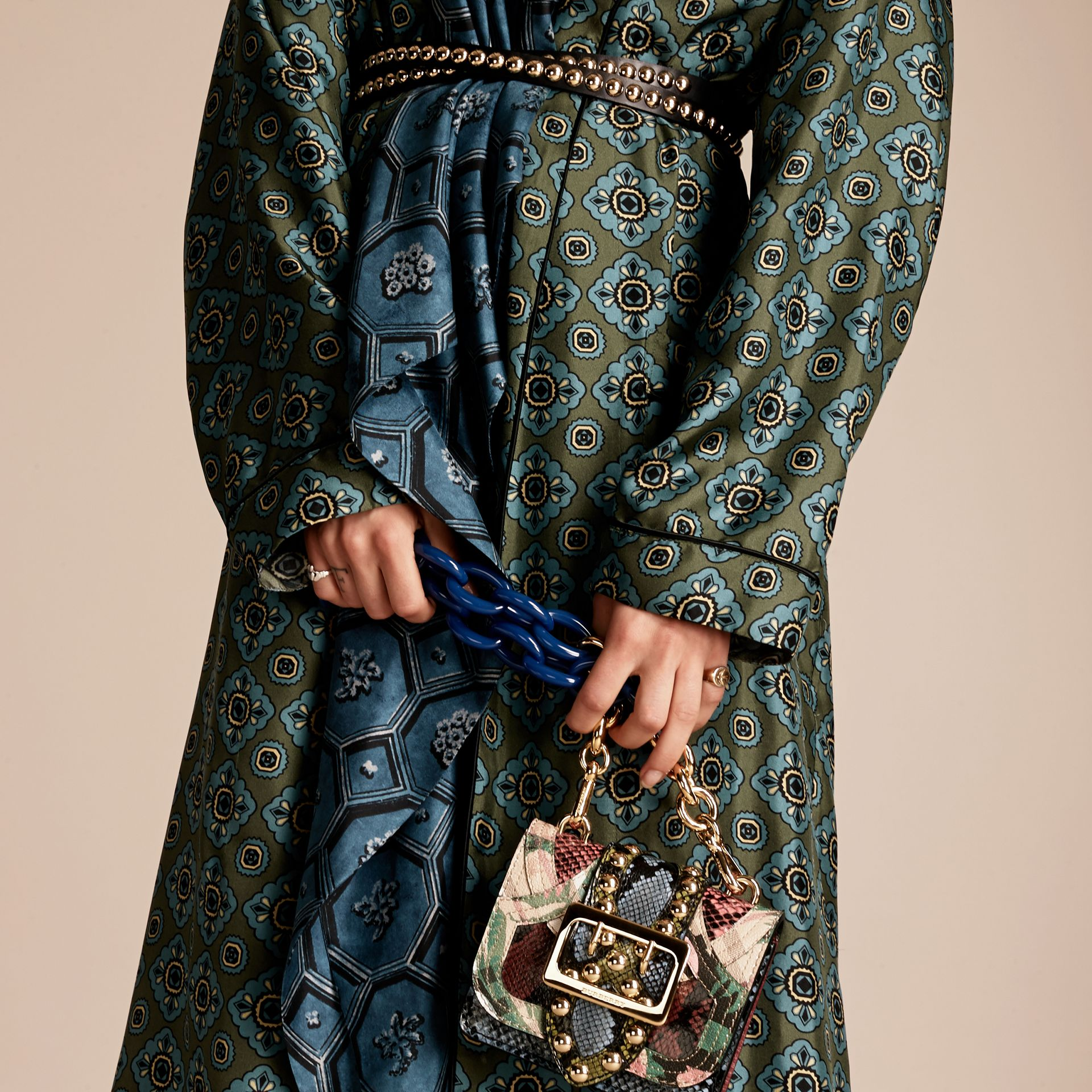 Emerald green The Mini Square Buckle Bag in Riveted Snakeskin and Floral Print - gallery image 3
