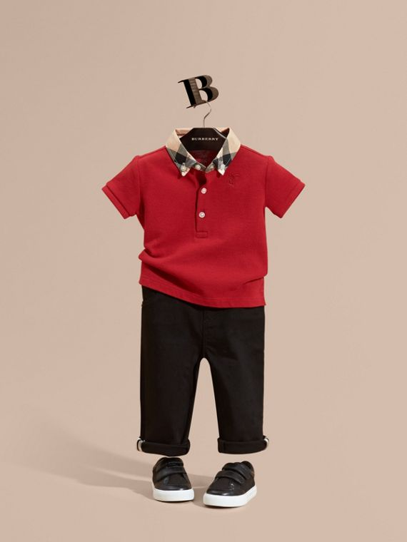 Check Collar Cotton Polo Shirt Military Red