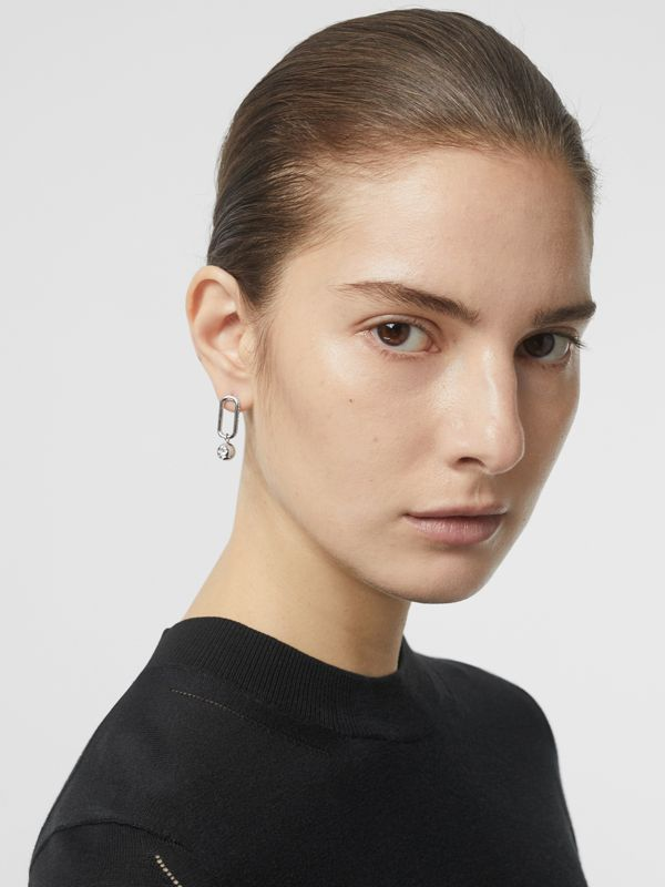 Crystal Charm Palladium-plated Drop Earrings in Palladio/crystal - Women | Burberry - cell image 2