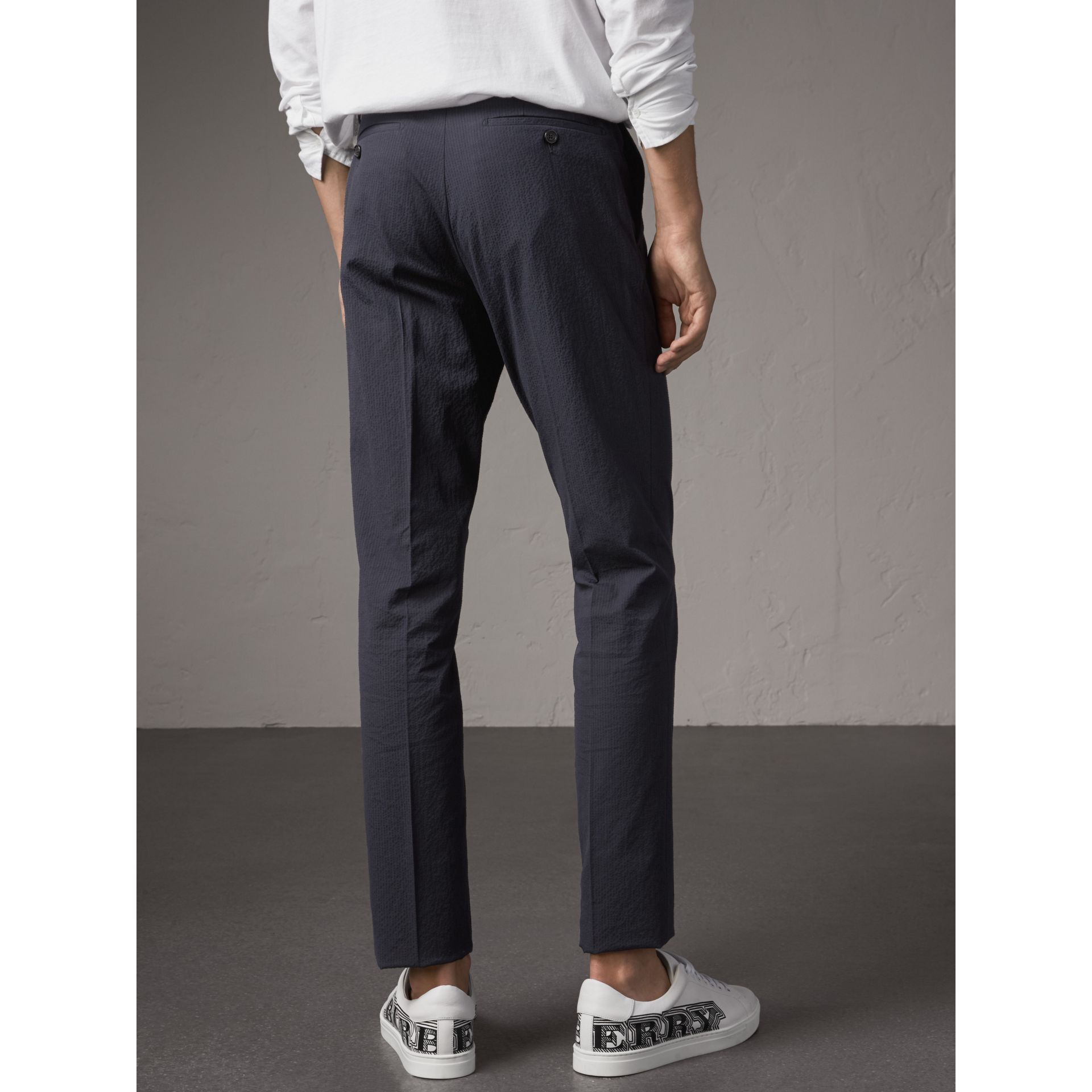 Slim Fit Textured Stretch Cotton Trousers in Navy - Men | Burberry - gallery image 3