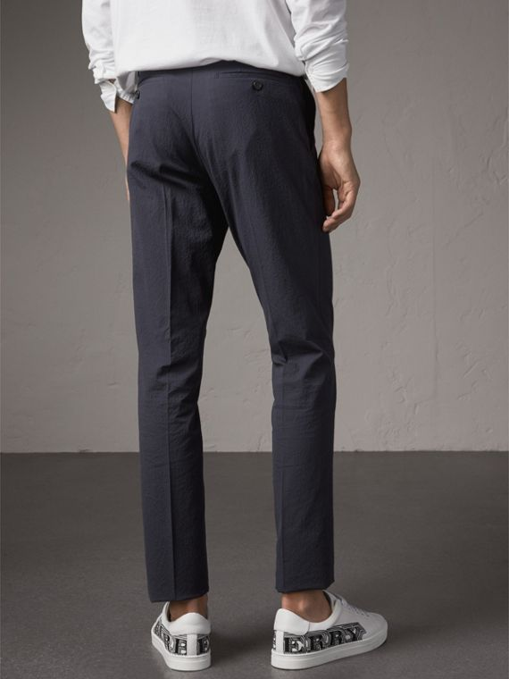 Slim Fit Textured Stretch Cotton Trousers in Navy - Men | Burberry - cell image 2