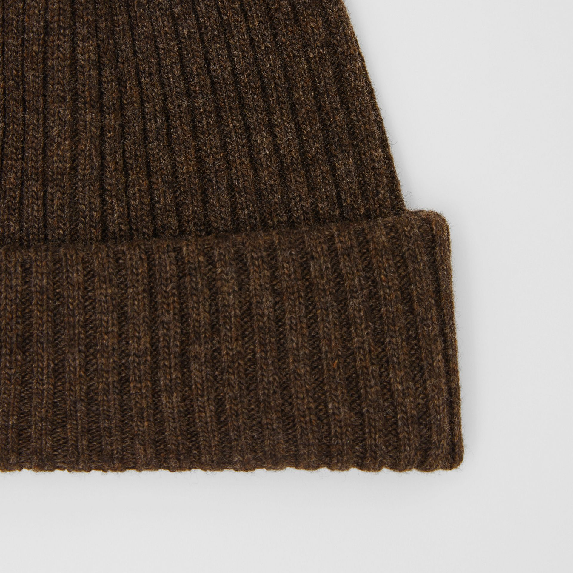 Rib Knit Wool Beanie in Deep Brown | Burberry United Kingdom - gallery image 1