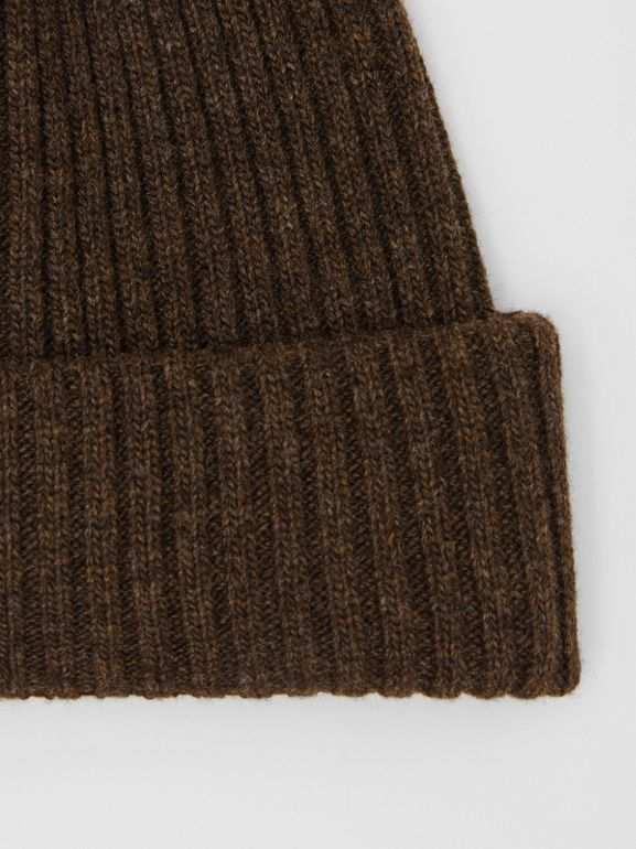 Rib Knit Wool Beanie in Deep Brown | Burberry - cell image 1