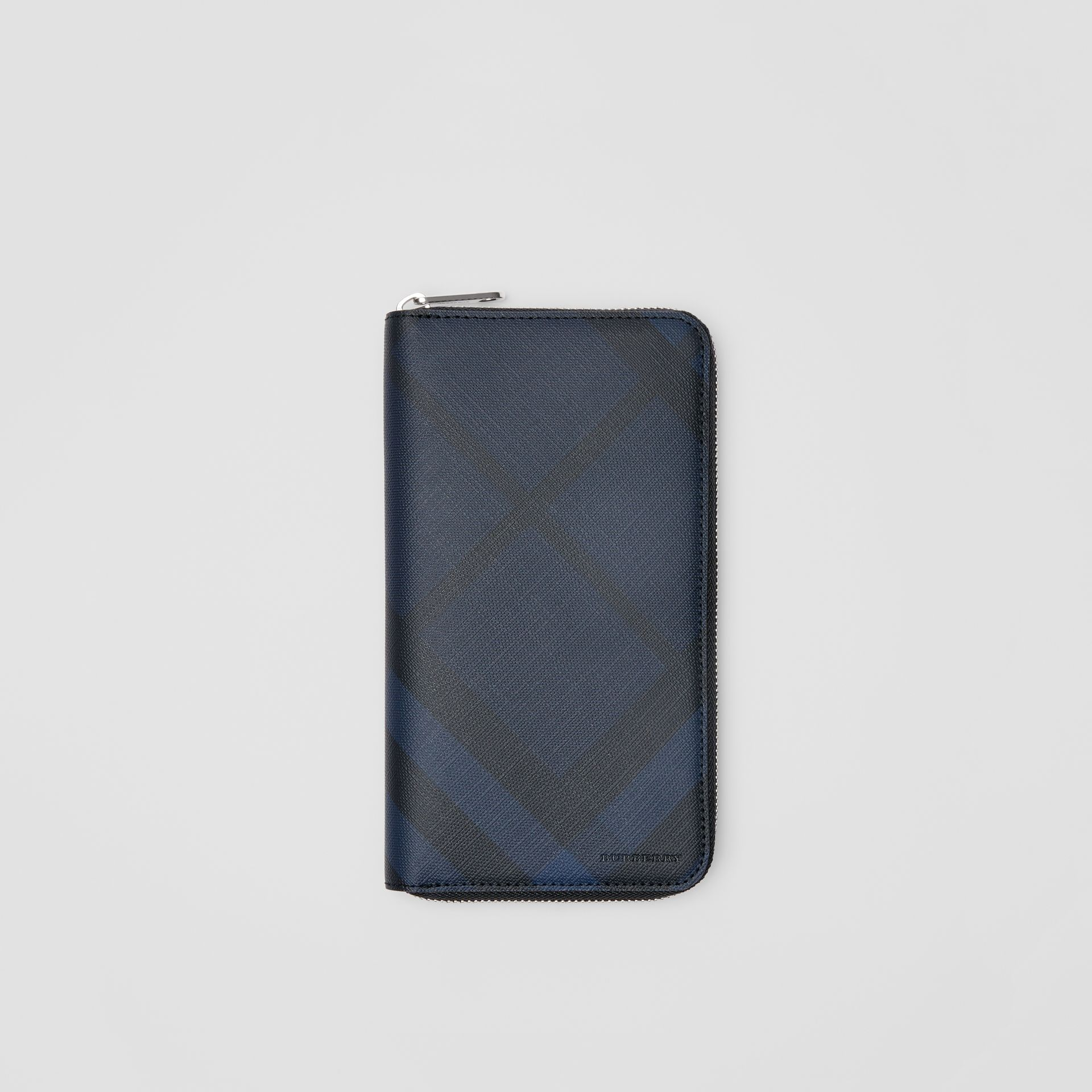 London Check and Leather Ziparound Wallet in Navy/black - Men | Burberry Canada - gallery image 0