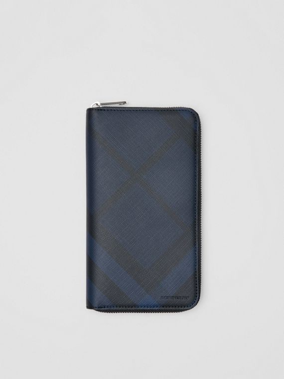 London Check and Leather Ziparound Wallet in Navy/black