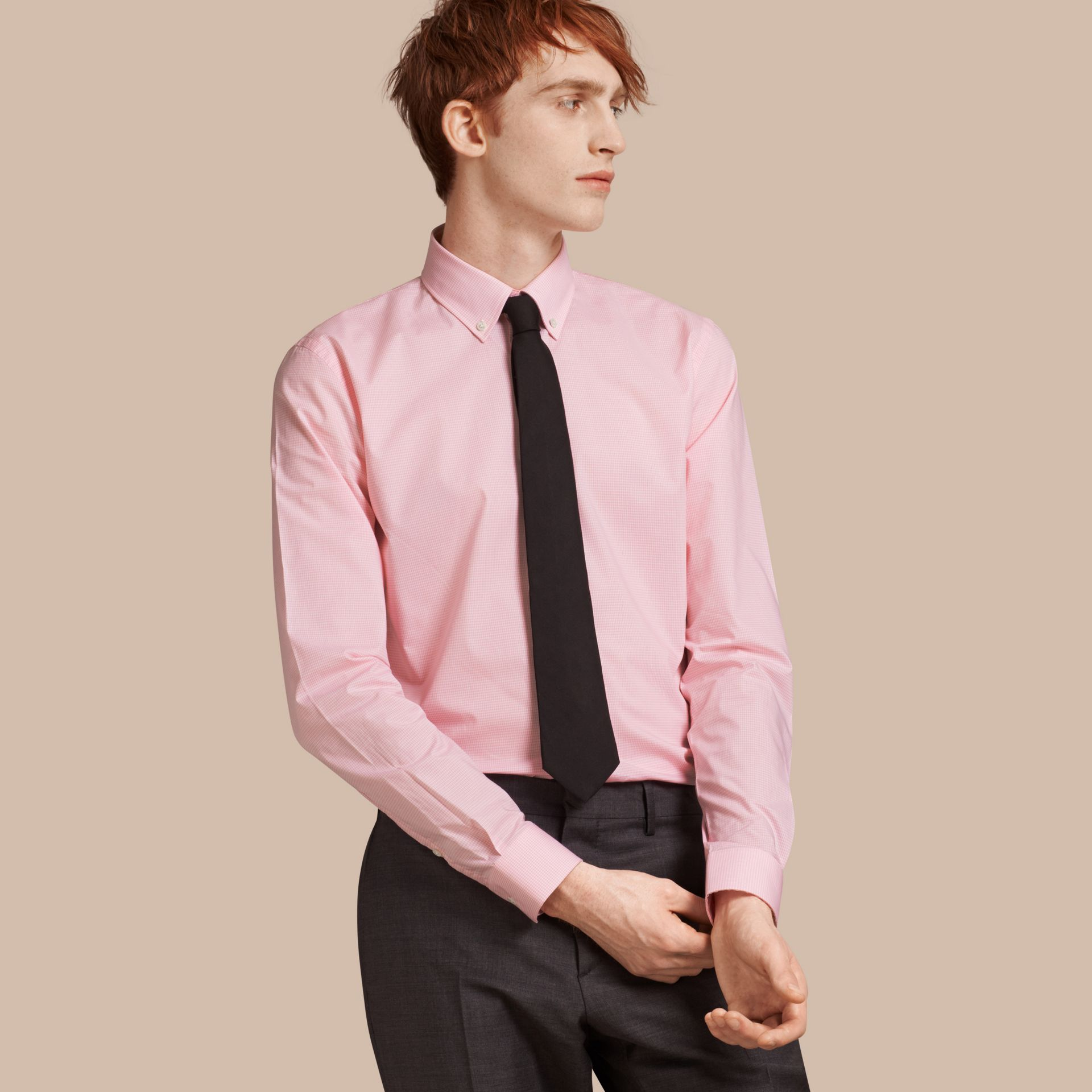 Slim Fit Button-down Collar Gingham Cotton Poplin Shirt in City Pink - gallery image 1