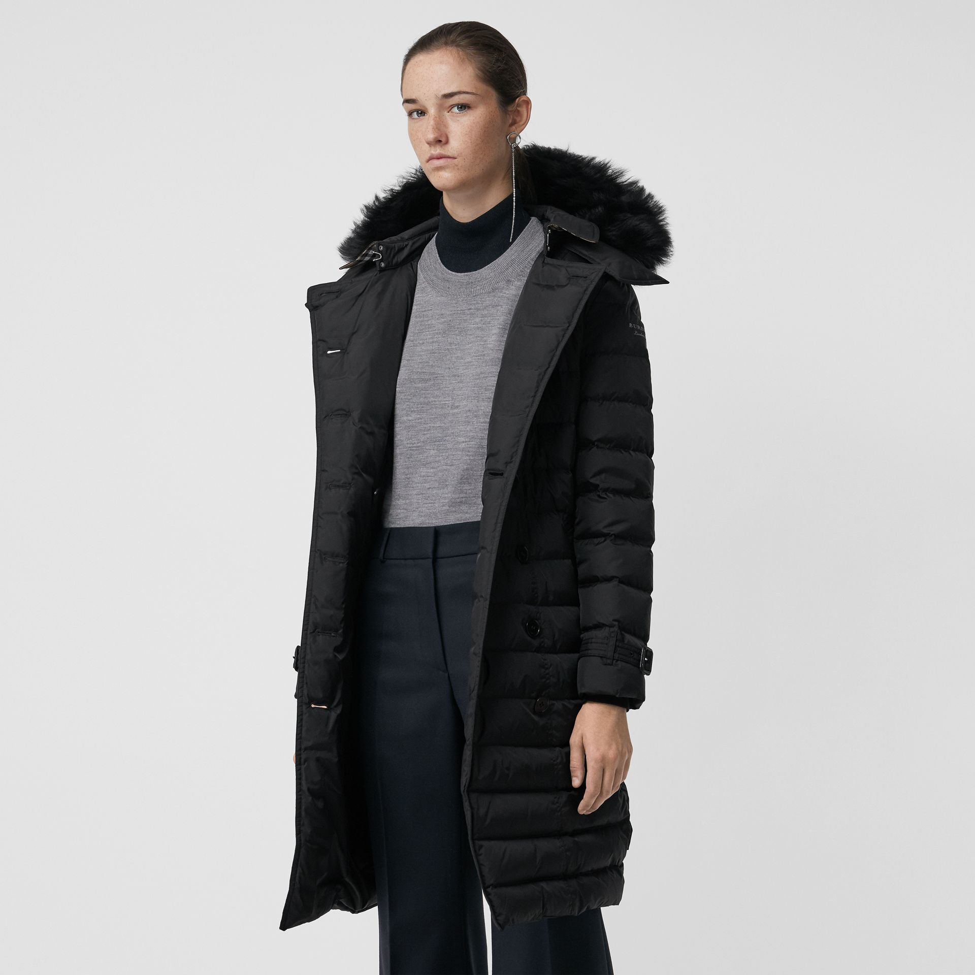 Detachable Hood Down-filled Puffer Coat in Black - Women | Burberry United States - gallery image 5