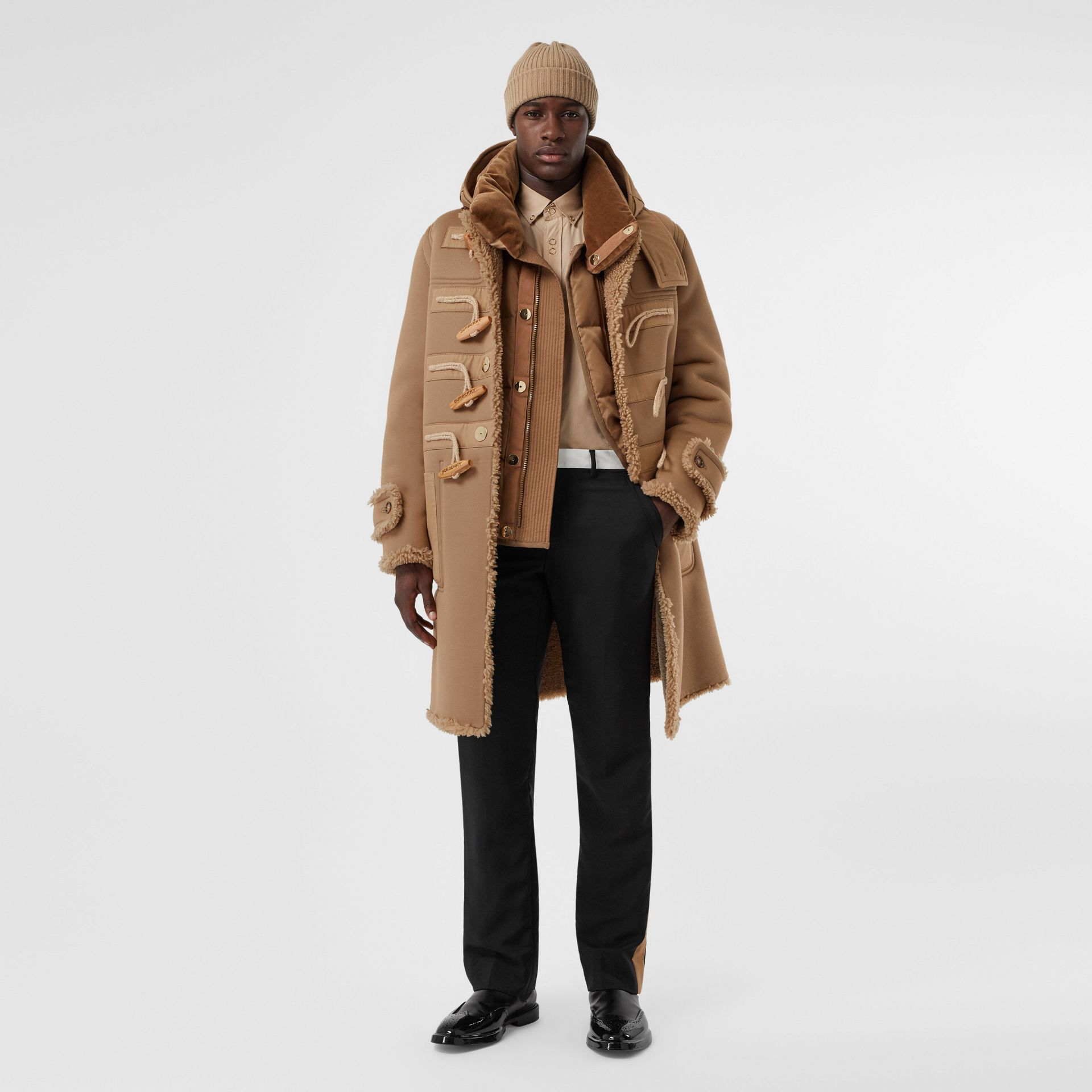 Reversible Neoprene and Shearling Hooded Duffle Coat in Warm Walnut - Men | Burberry - gallery image 0