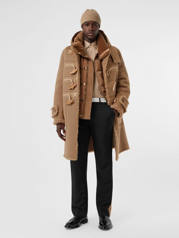 Reversible Neoprene and Shearling Hooded Duffle Coat in Warm Walnut