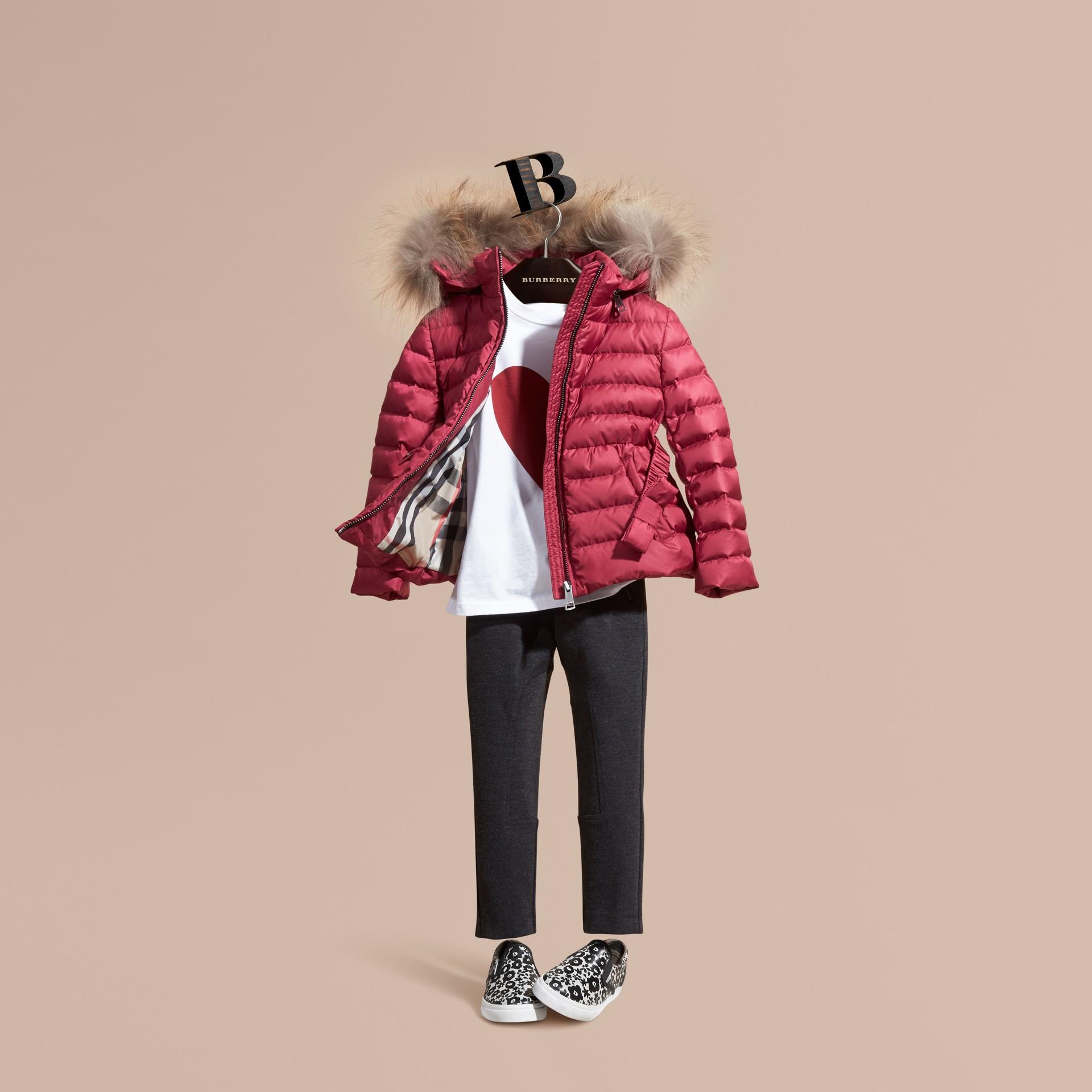 Dark plum pink Bow Detail Puffer Jacket - gallery image 1