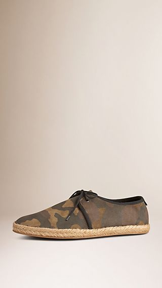 Camouflage Print Suede Lace-up Espadrilles
