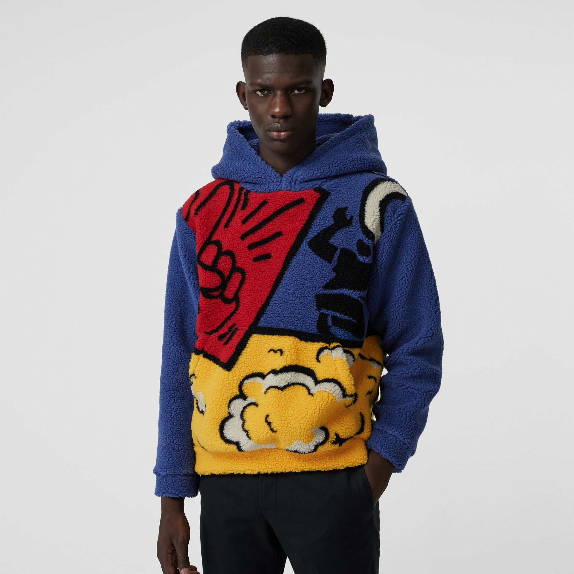 Poster Graphic Fleece Jacquard Hoodie in Amber Yellow - Men | Burberry United States - gallery image 4