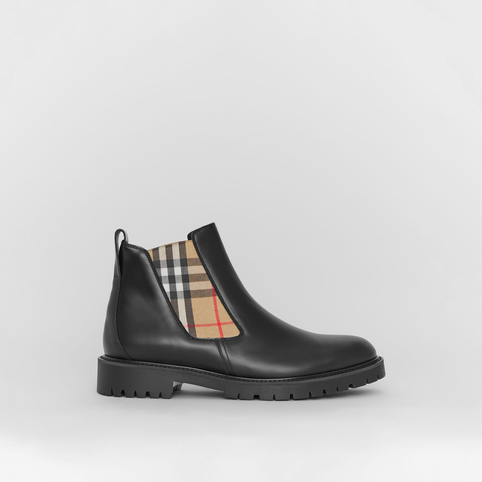 Vintage Check Detail Leather Chelsea Boots in Black - Men | Burberry United States - gallery image 5