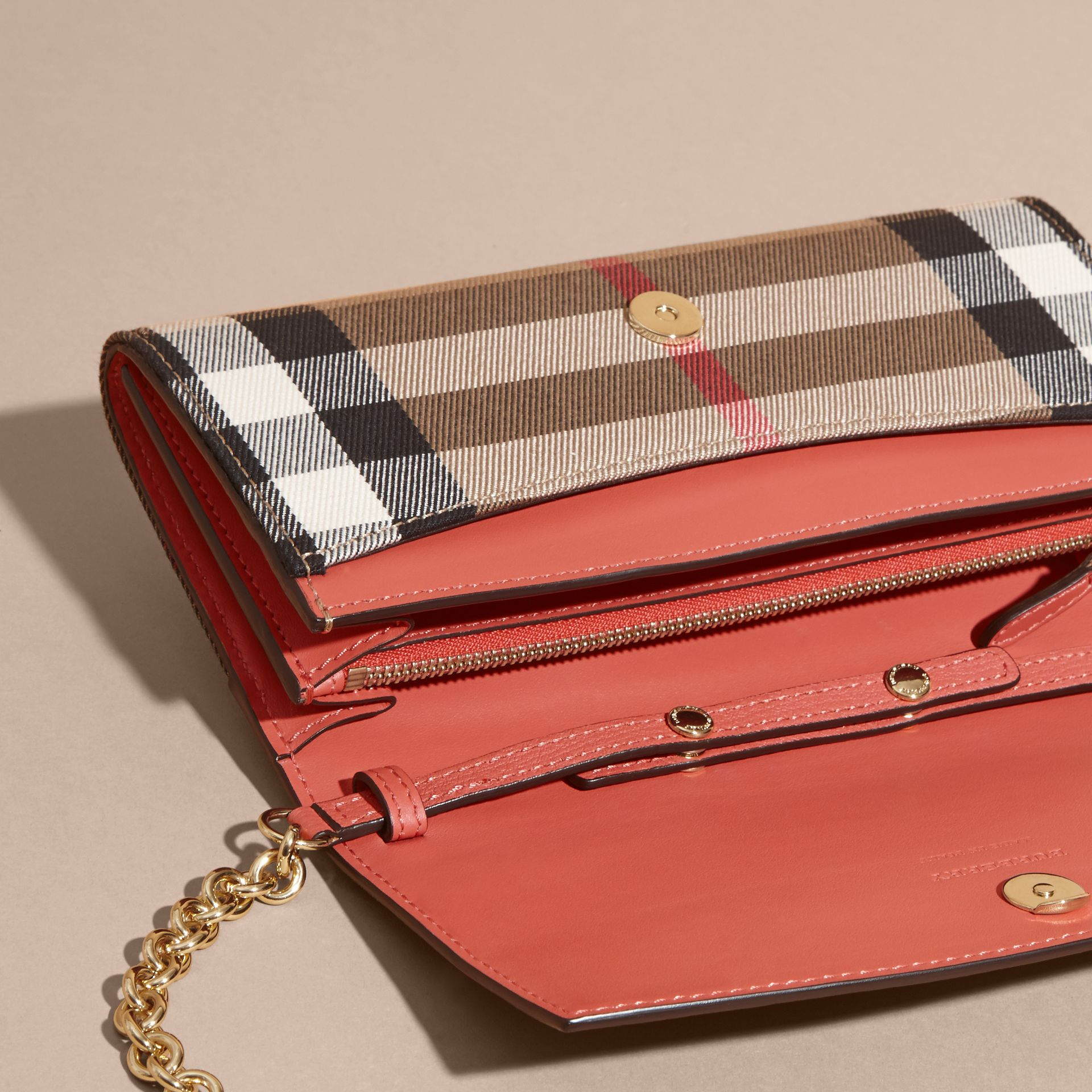 House Check and Leather Wallet with Chain in Cinnamon Red - Women | Burberry Australia - gallery image 4