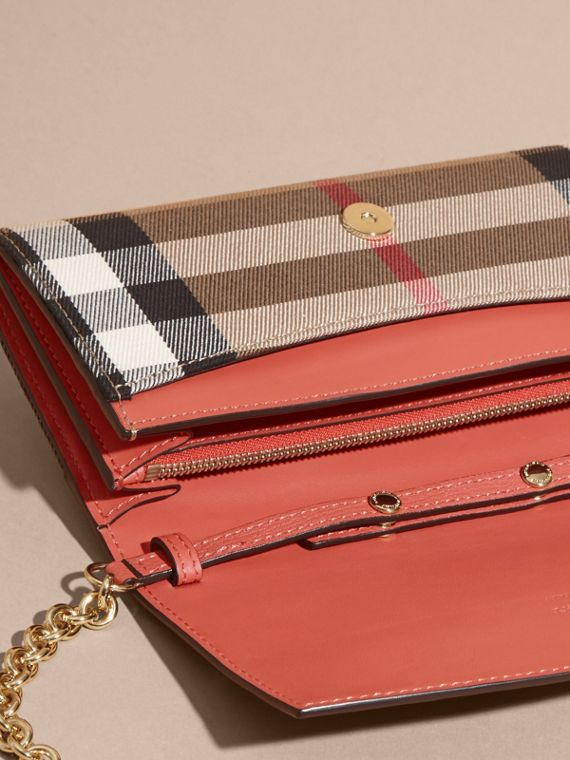 House Check and Leather Wallet with Chain in Cinnamon Red - Women | Burberry - cell image 3