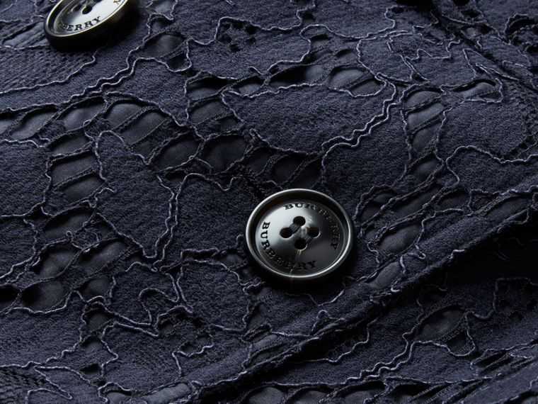 Ruffle Detail Macramé Lace Trench Coat Navy - cell image 1