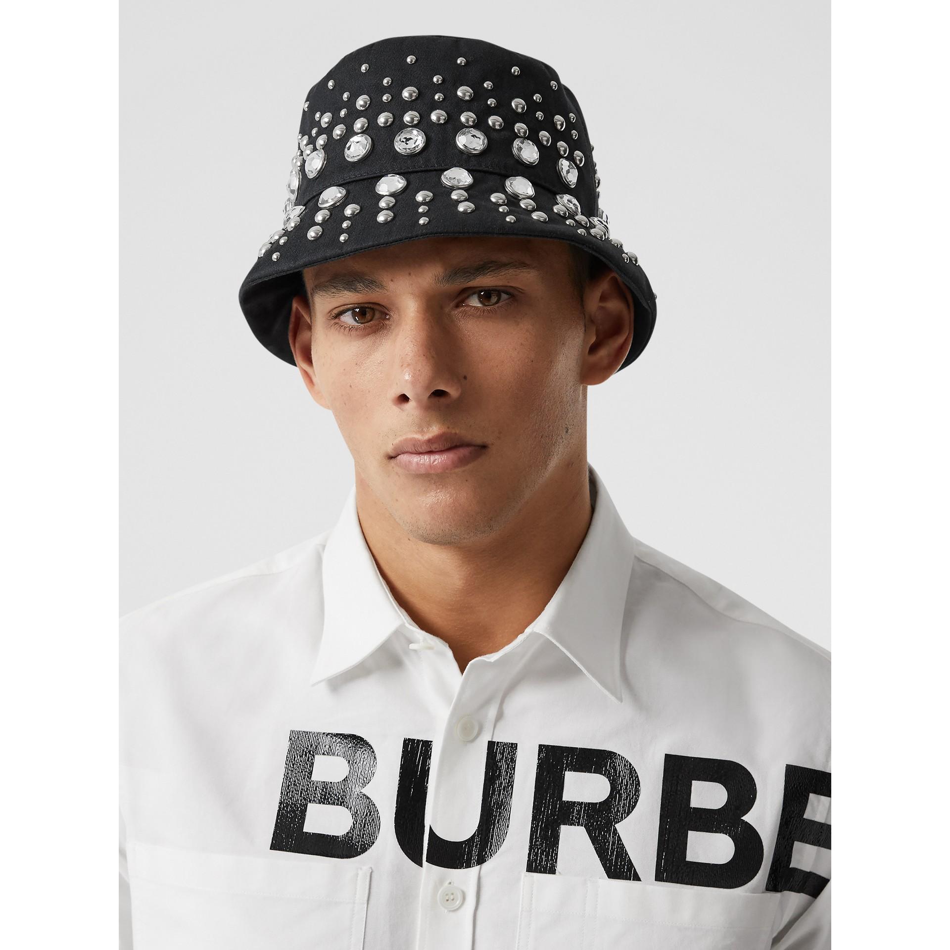 裝飾細節棉質斜紋漁夫帽 (黑色) | Burberry - 圖庫照片 3