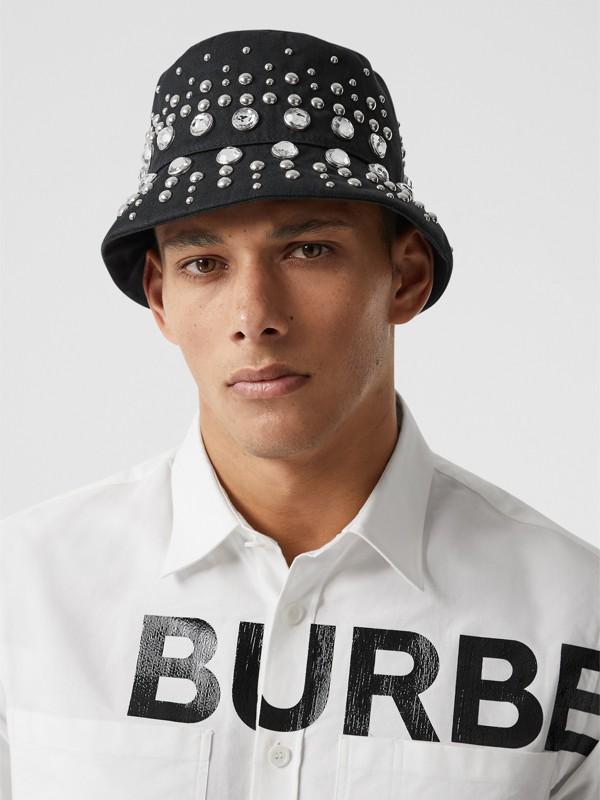 裝飾細節棉質斜紋漁夫帽 (黑色) | Burberry - cell image 3