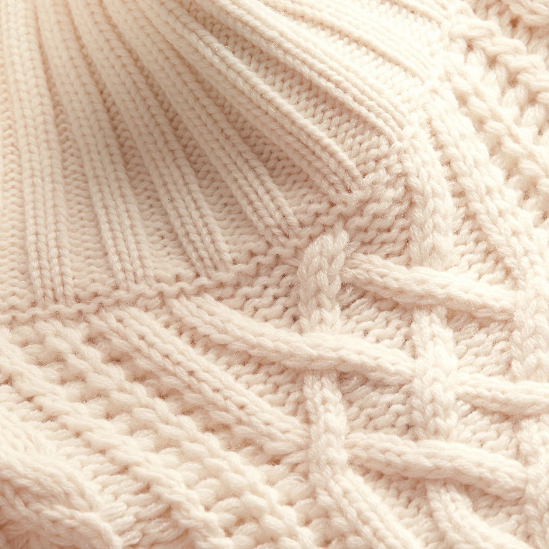 Natural white Funnel Neck Cashmere Cable Knit Sweater - gallery image 2