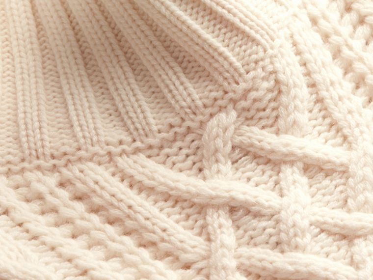 Natural white Funnel Neck Cashmere Cable Knit Sweater - cell image 1