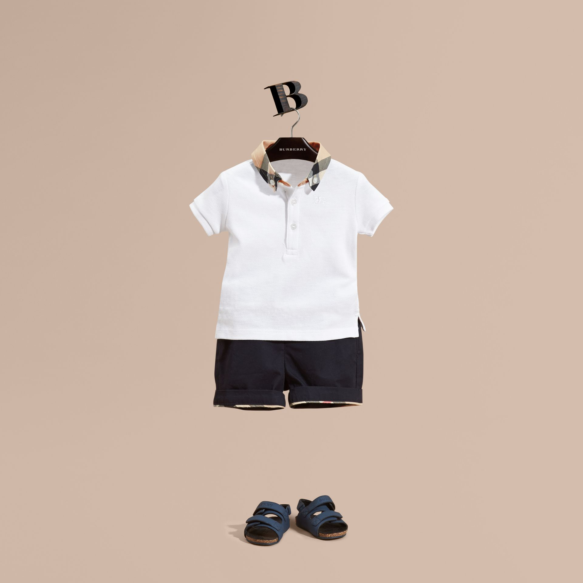 Check Collar Cotton Polo Shirt White - gallery image 1
