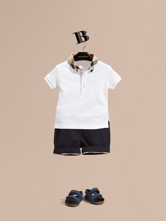 Check Collar Cotton Polo Shirt White