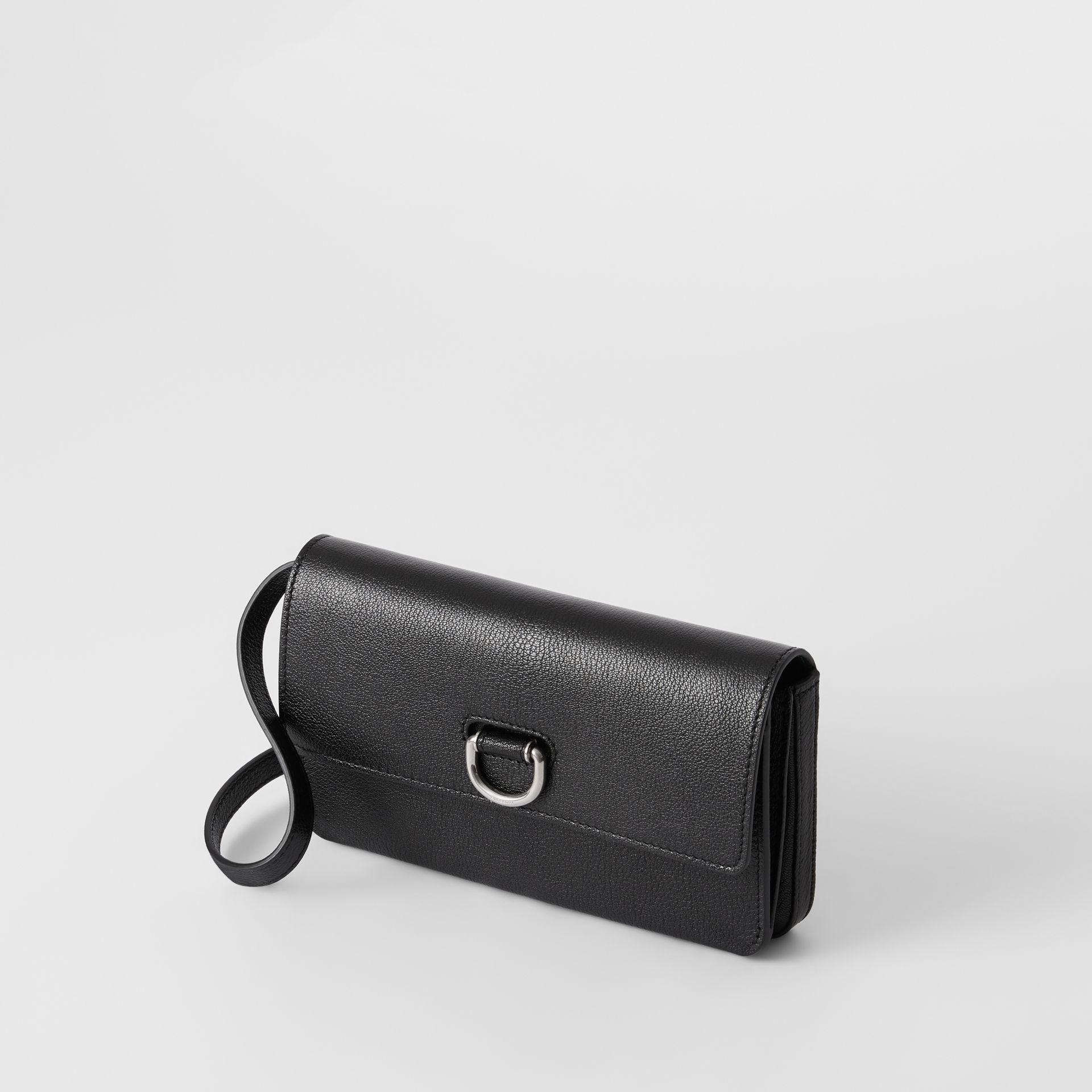 D-ring Leather Wallet with Detachable Strap in Black - Women | Burberry - gallery image 4