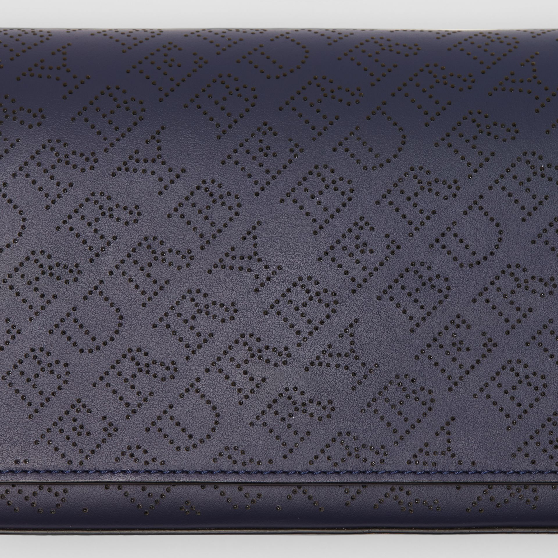 Perforated Logo Leather Wallet with Detachable Strap in Navy - Women | Burberry Australia - gallery image 1