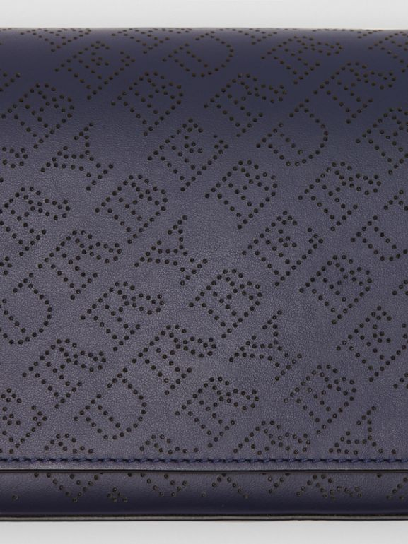 Perforated Logo Leather Wallet with Detachable Strap in Navy - Women | Burberry - cell image 1