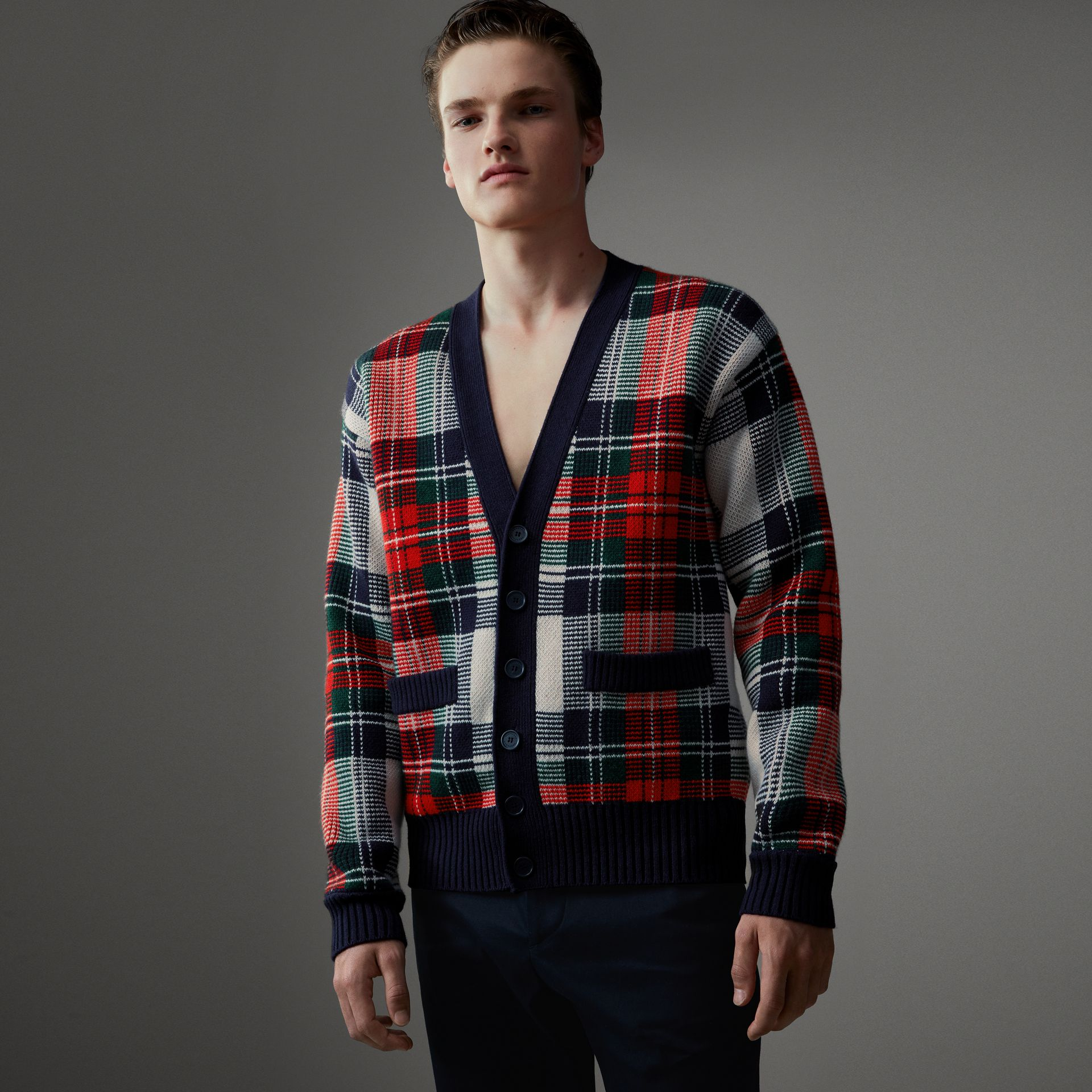 Tartan Knitted Cashmere Wool Cardigan in Natural White/ Navy - Men | Burberry - gallery image 0