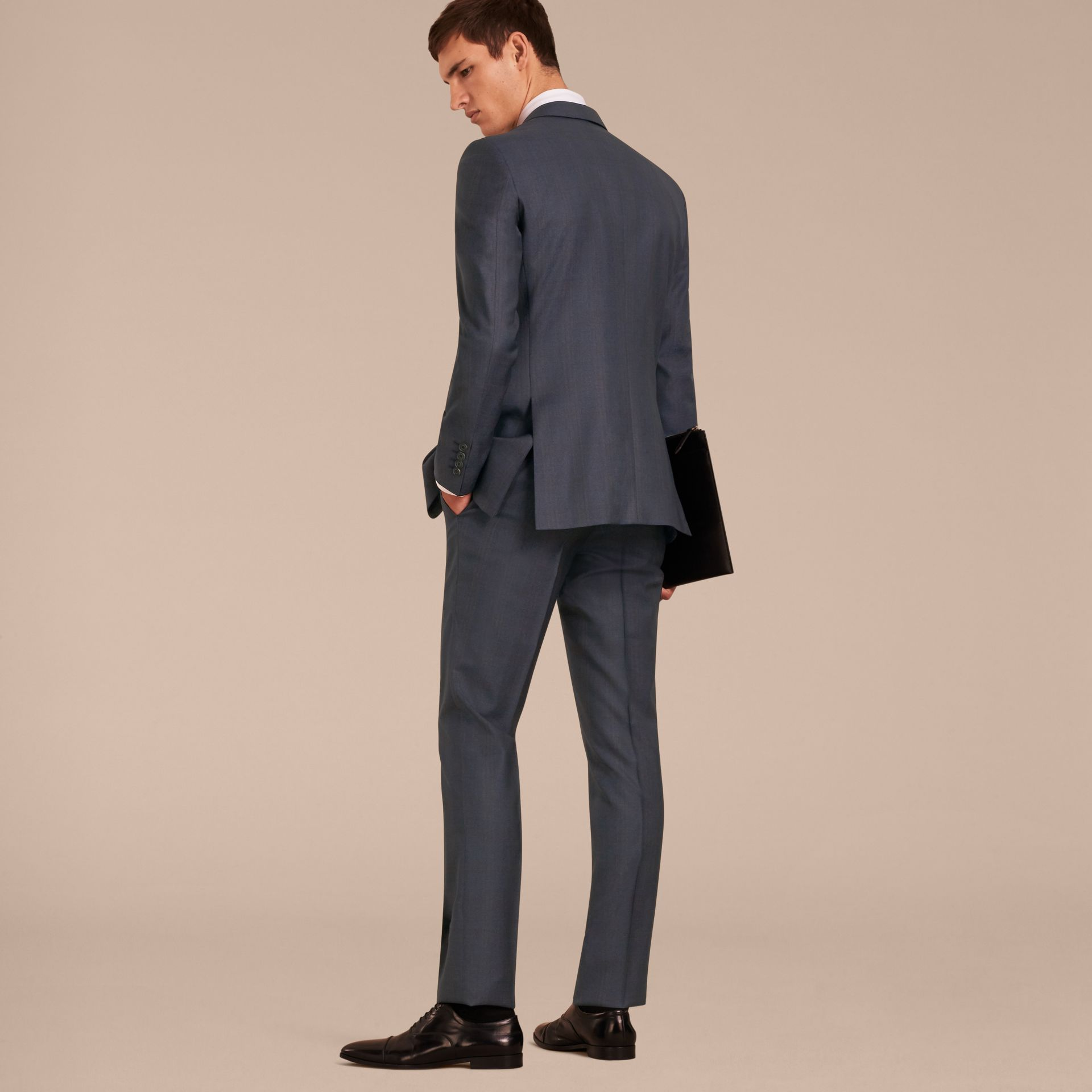 Navy Modern Fit Wool Half-canvas Suit - gallery image 3