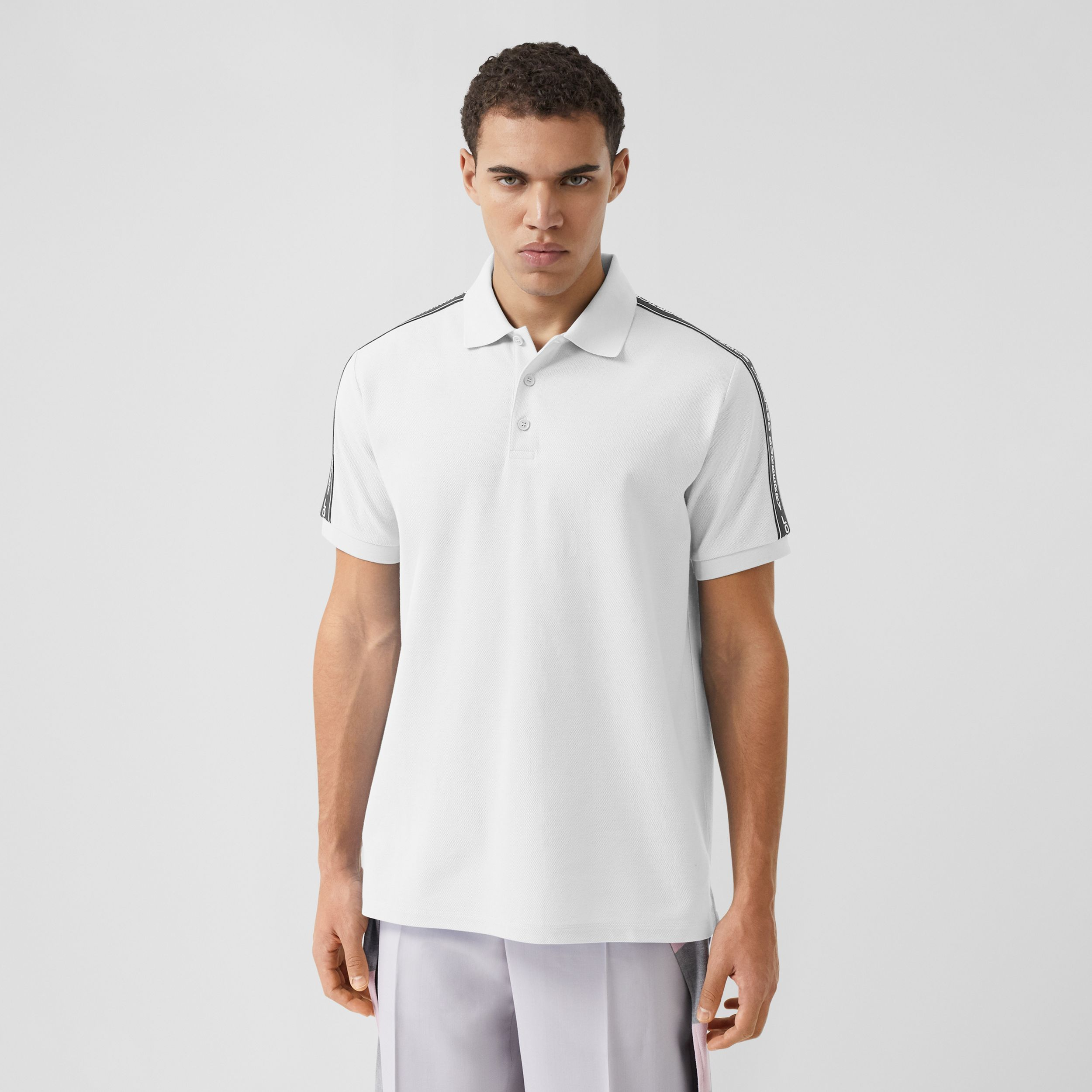 Logo Tape Cotton Piqué Polo Shirt in White - Men | Burberry - 1