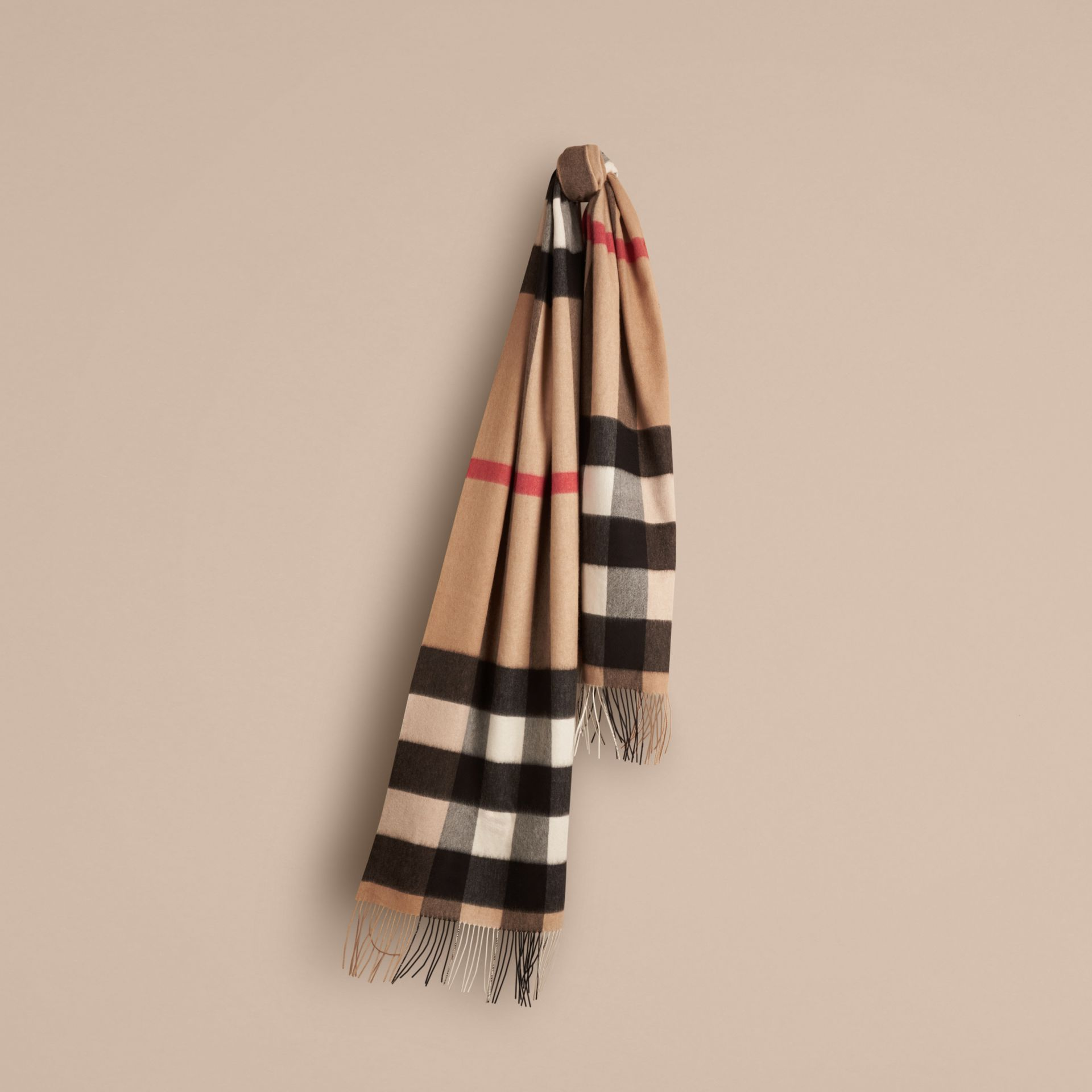 Oversize Check Cashmere Scarf in Camel | Burberry - gallery image 1