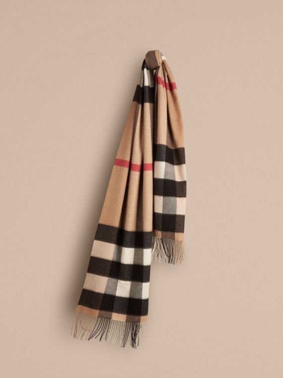 Oversize Check Cashmere Scarf Camel