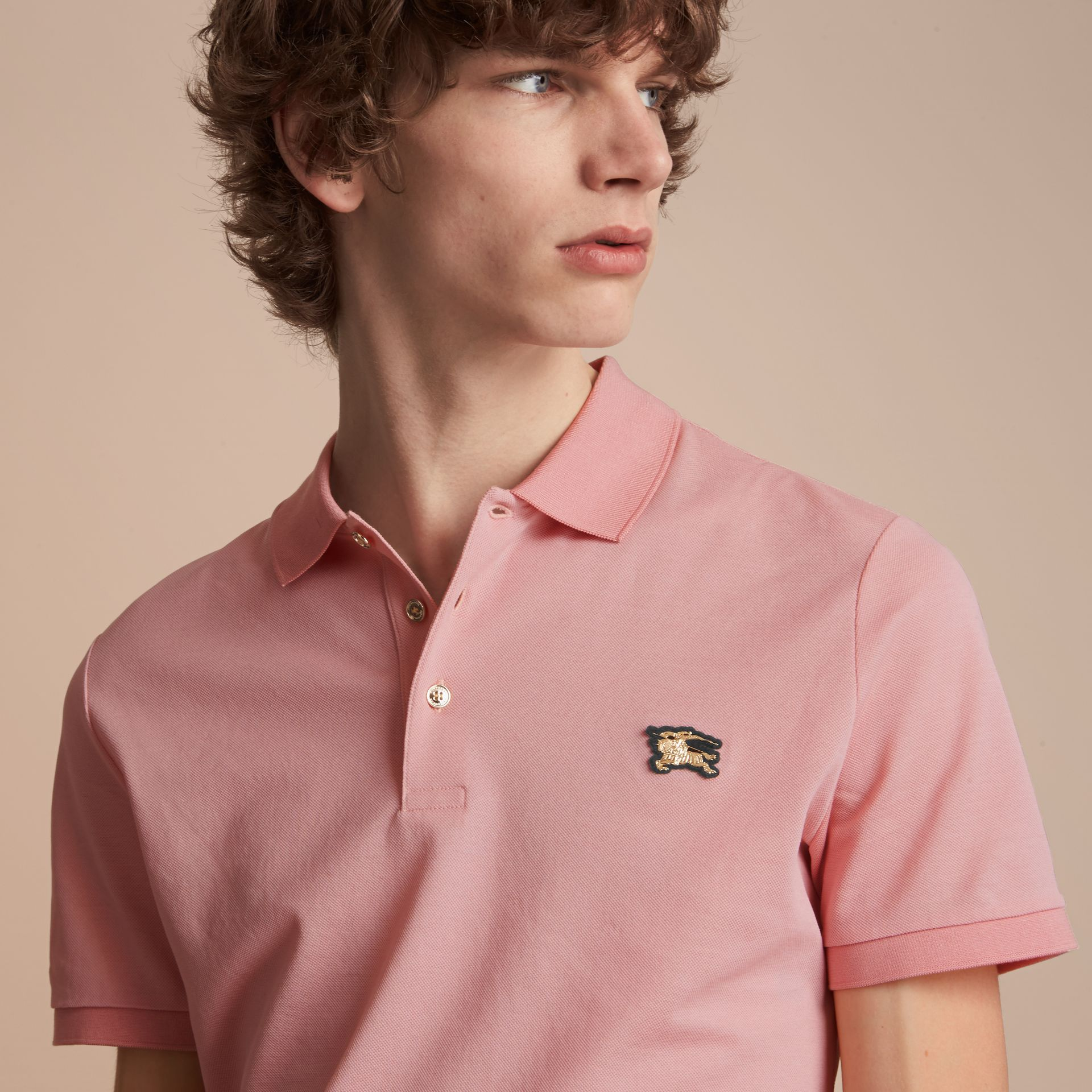 Cotton Piqué Polo Shirt in Chalk Pink - Men | Burberry - gallery image 5