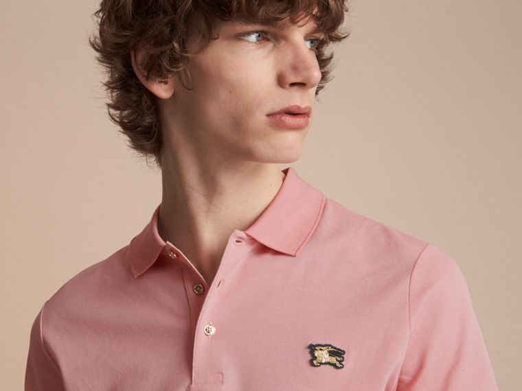 Cotton Piqué Polo Shirt in Chalk Pink - Men | Burberry - cell image 4