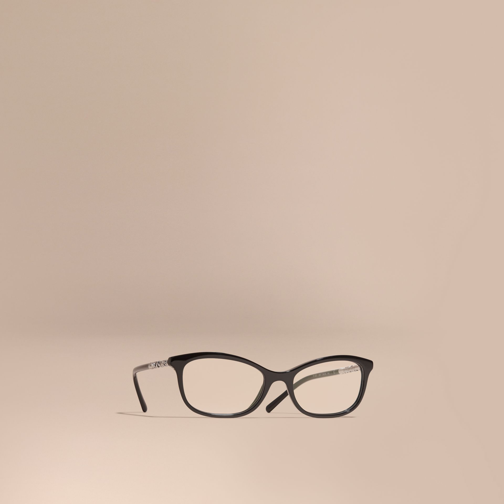 Black Check Detail Oval Optical Frames Black - gallery image 1