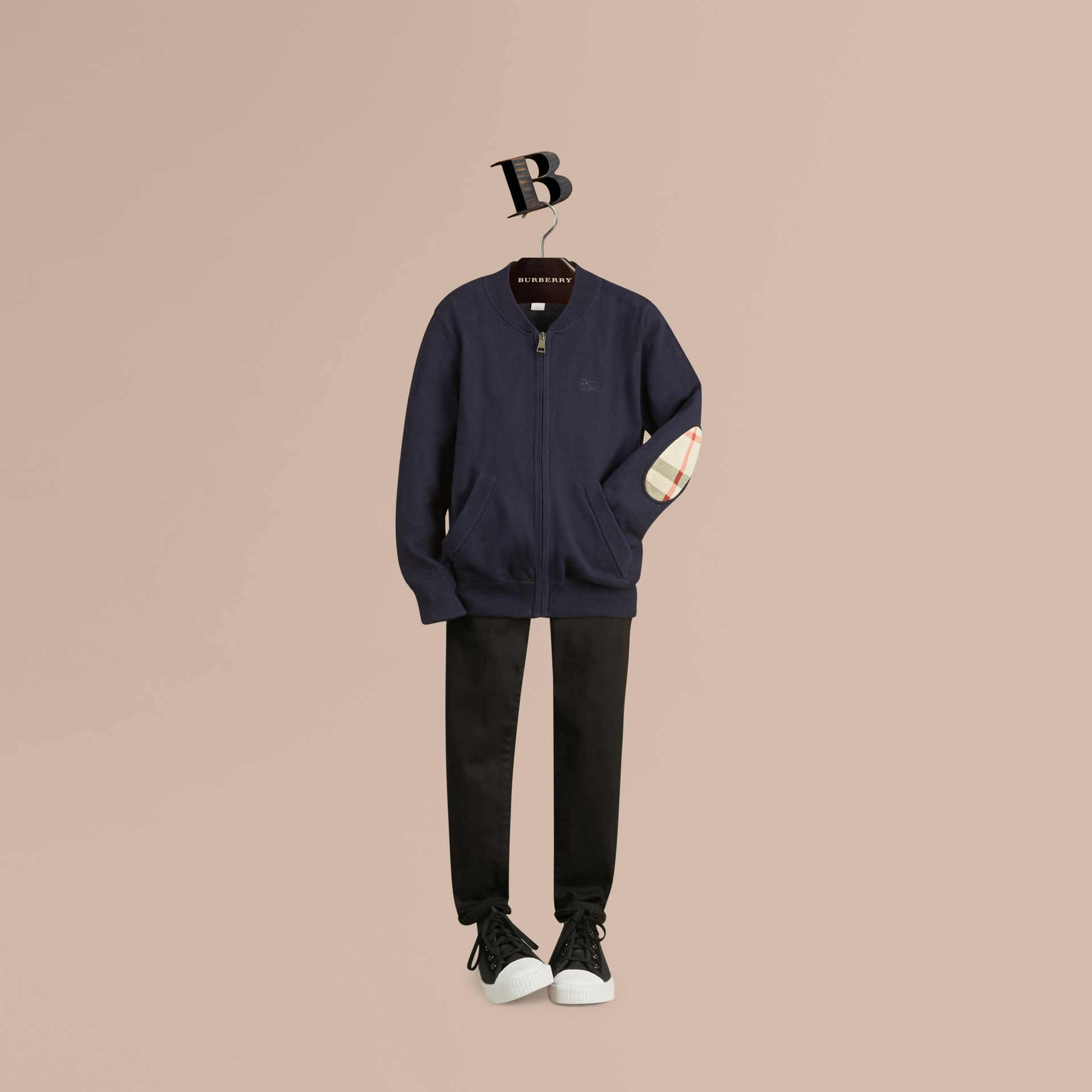 Check Elbow Patch Bomber Cardigan Navy - gallery image 1