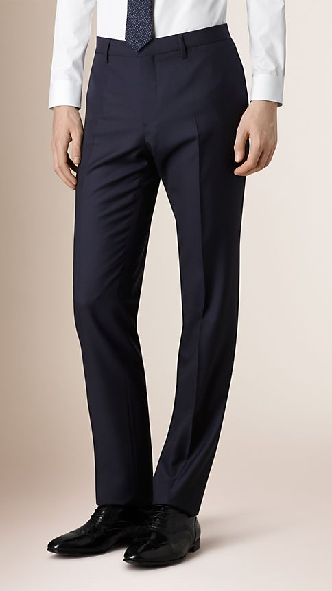Navy Classic Fit Wool Part-canvas Suit - Image 5