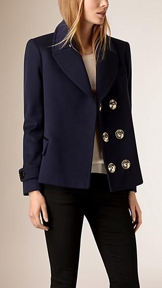 Lambskin Trim Wool Cashmere Tailored Jacket