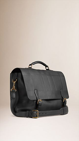 Embossed Check Grainy Leather Briefcase