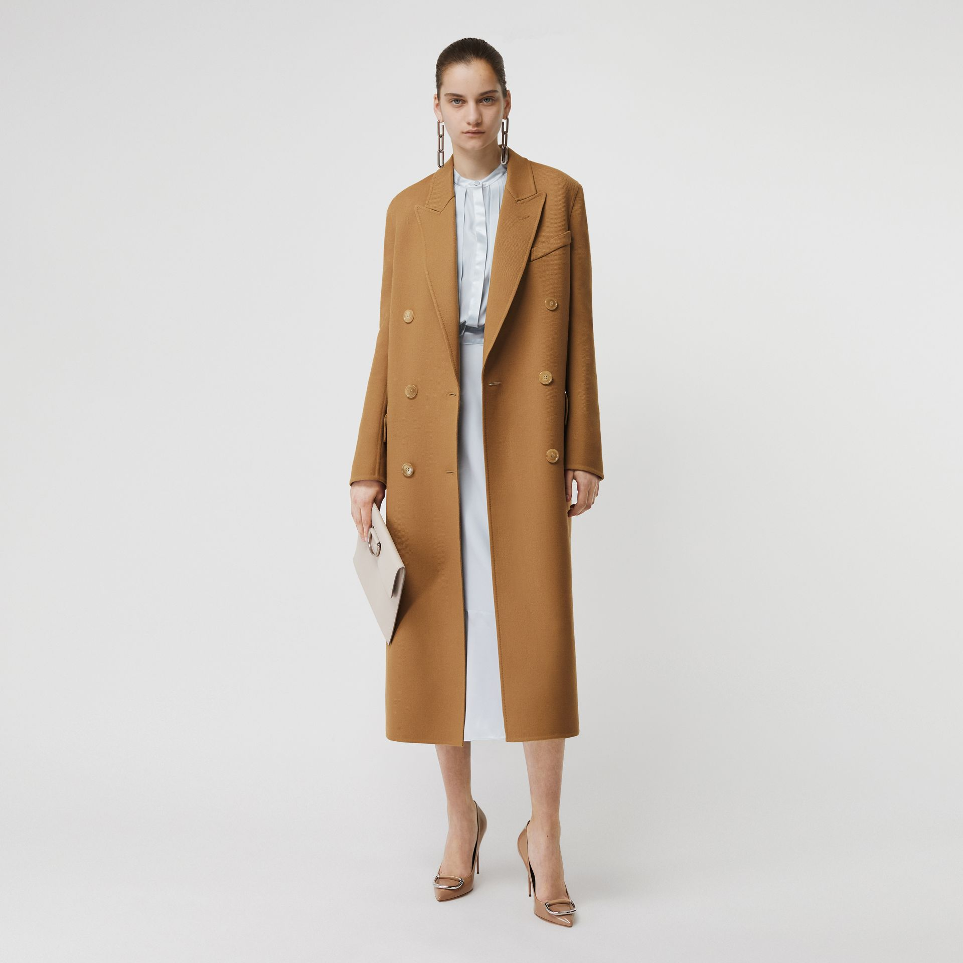 Double-breasted Wool Tailored Coat in Camel - Women | Burberry United Kingdom - gallery image 0