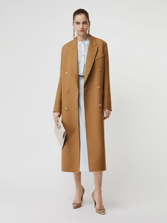 Double-breasted Wool Tailored Coat in Camel