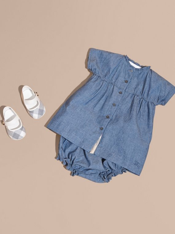 Ruffle Detail Cotton Chambray Dress and Bloomers
