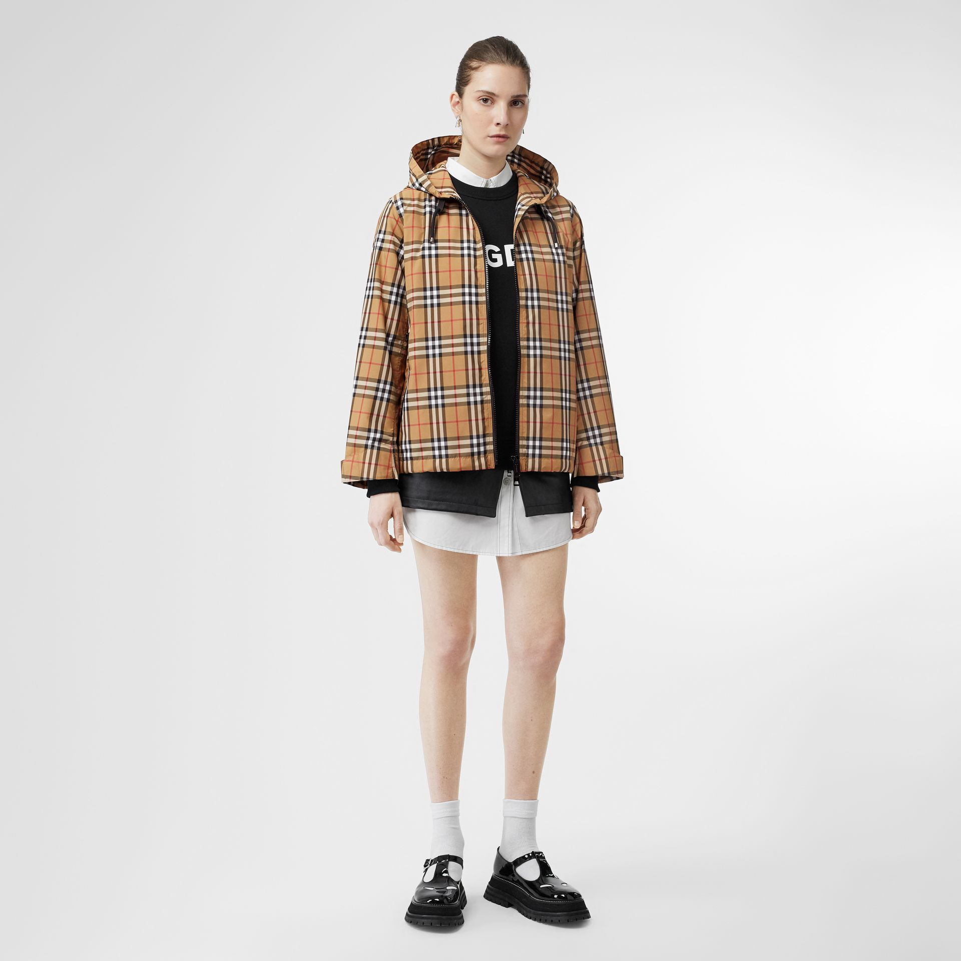 Vintage Check Lightweight Hooded Jacket in Antique Yellow - Women | Burberry - gallery image 0