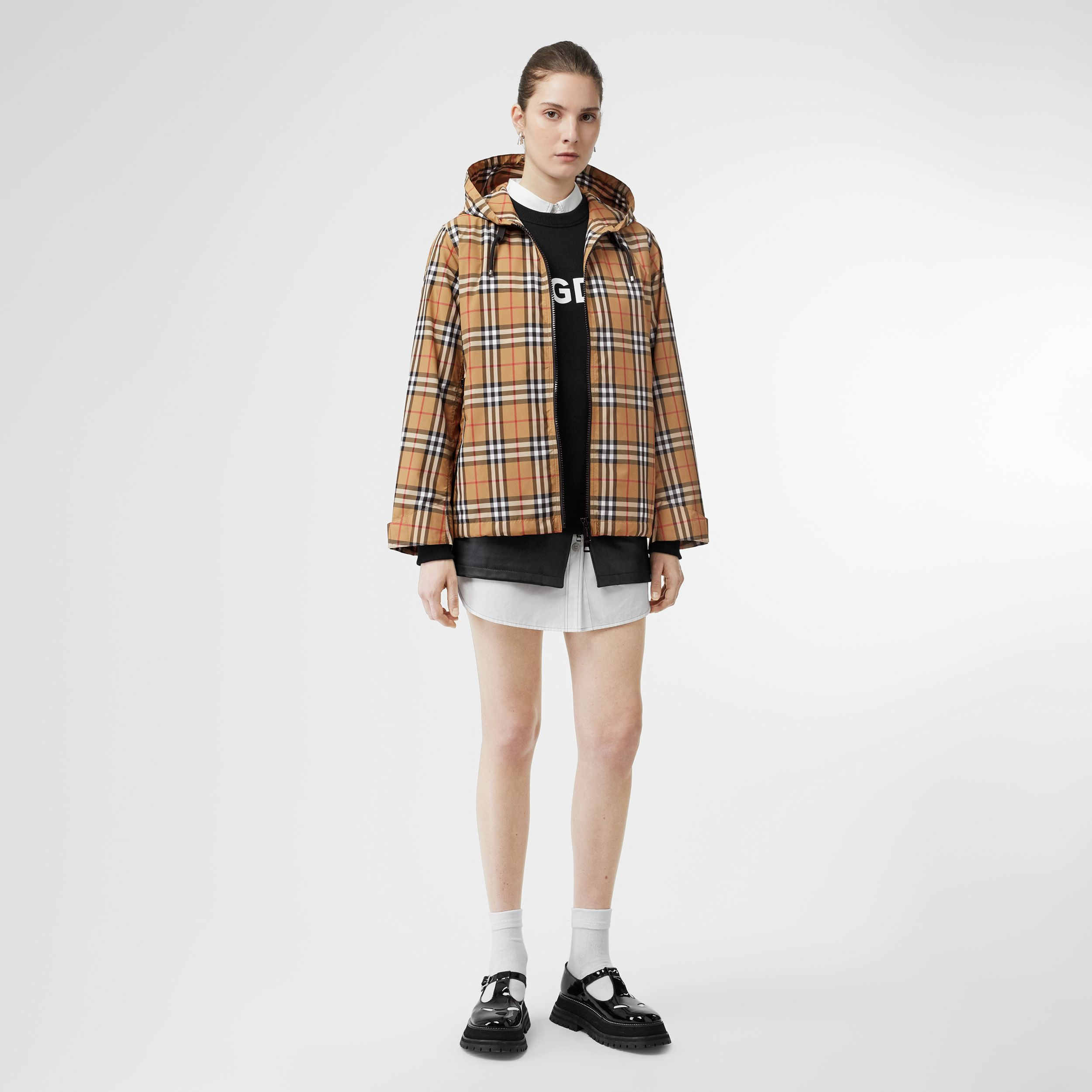 Vintage Check Lightweight Hooded Jacket in Antique Yellow - Women | Burberry - 1